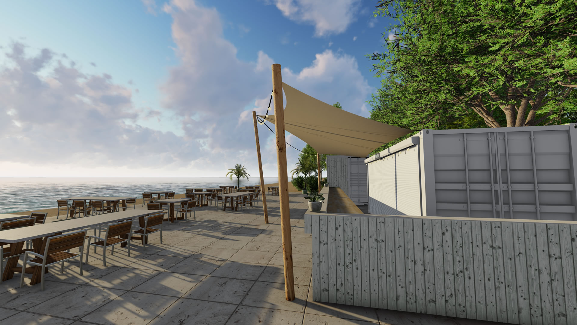 EPIC Living Garden Shelters - Beachclub Sunrise 3d 1