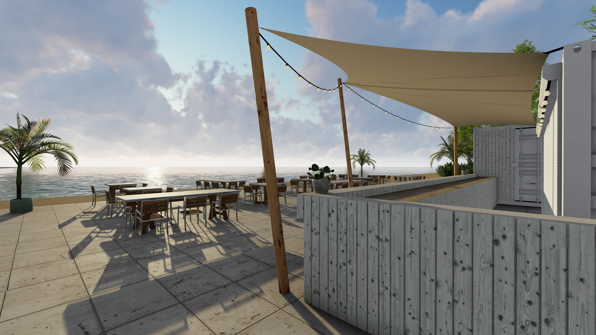 EPIC Living Garden Shelters - Beachclub Sunrise 3d 3